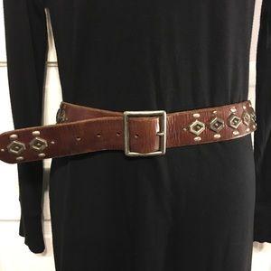 "Brown Leather ""Brass"" Studded Belt 40"" Length"